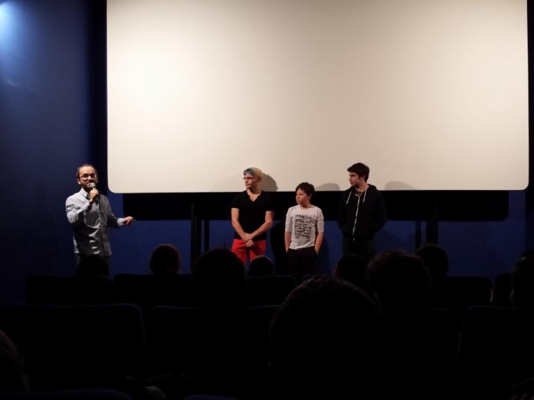 Sébastien, de Radio Campus, sur le point de faire gagner une affiche géante du film suite au meilleur cri de Totoro :)