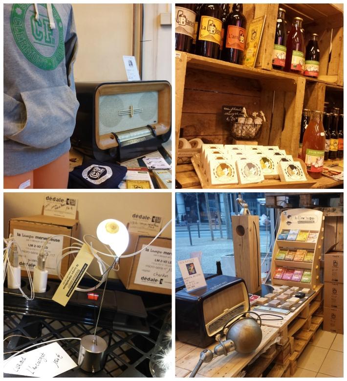 Quelques jolis produits : les fringues de Student of Clermont, les radios vintage de A.bsolument, les bières du Plan B, les Belles de savons, les lampes Dédale-S...